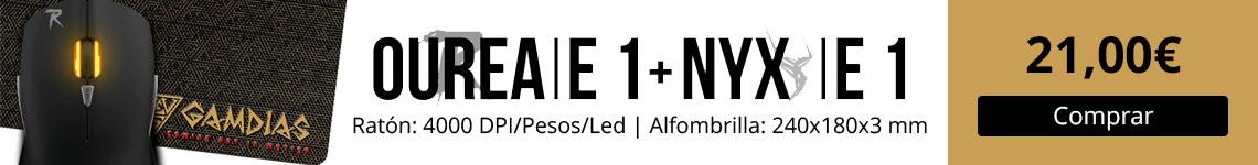 Gamdias Ourea y Nyx E1 - Kit de ratón y alfombrilla Gamer